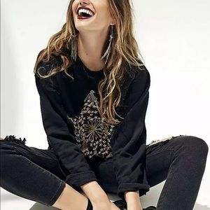 FREE PEOPLE STAR STUDDED SAFETY PIN PULLOVER